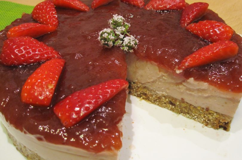 Vegan cheesecake alle fragole