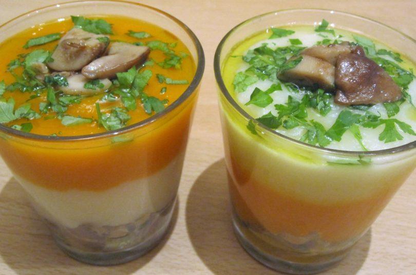 Doppia vellutata nel bicchiere: zucca, sedano rapa e funghi porcini