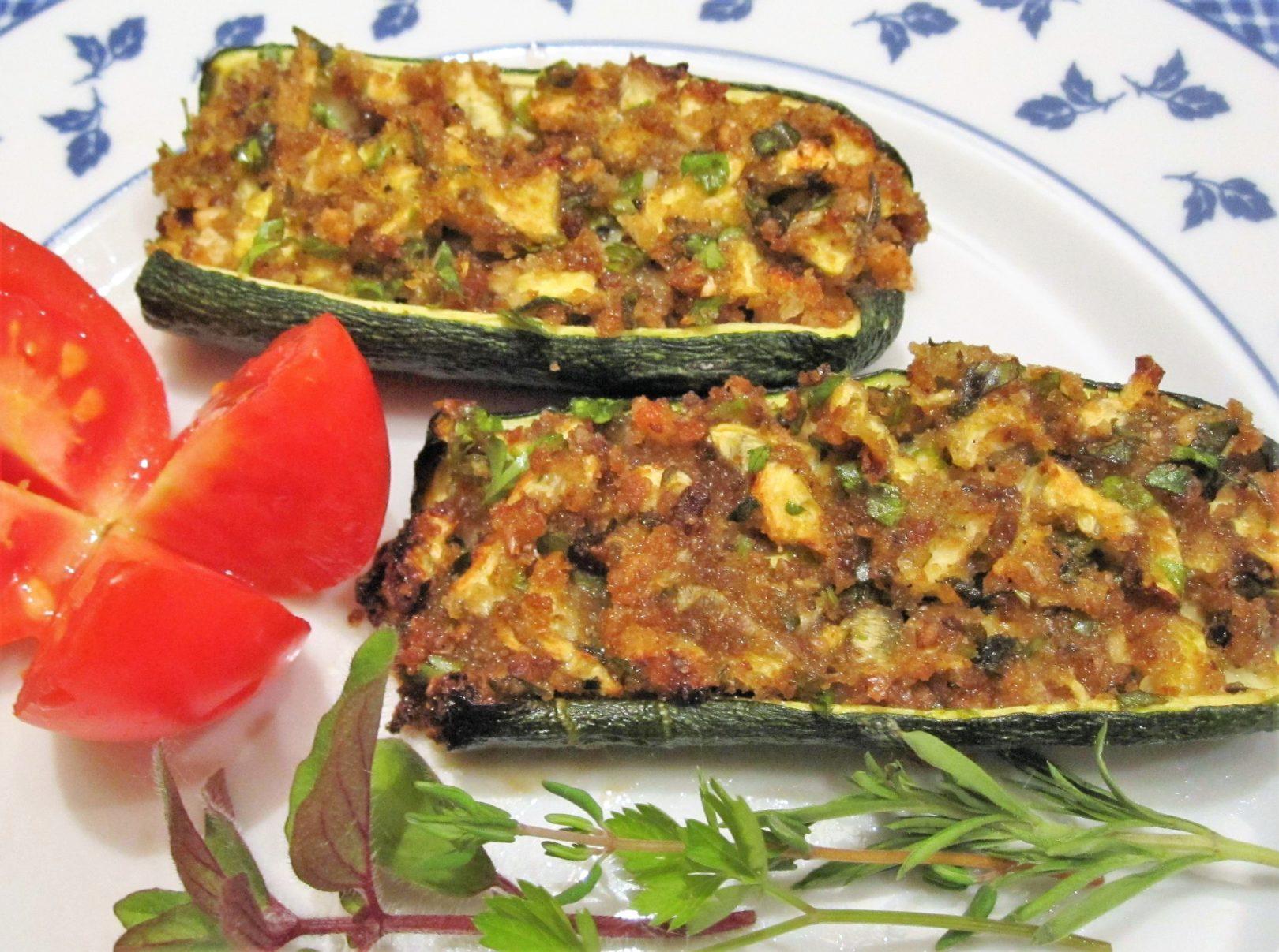 Barchette di zucchine gratinate alle erbe aromatiche