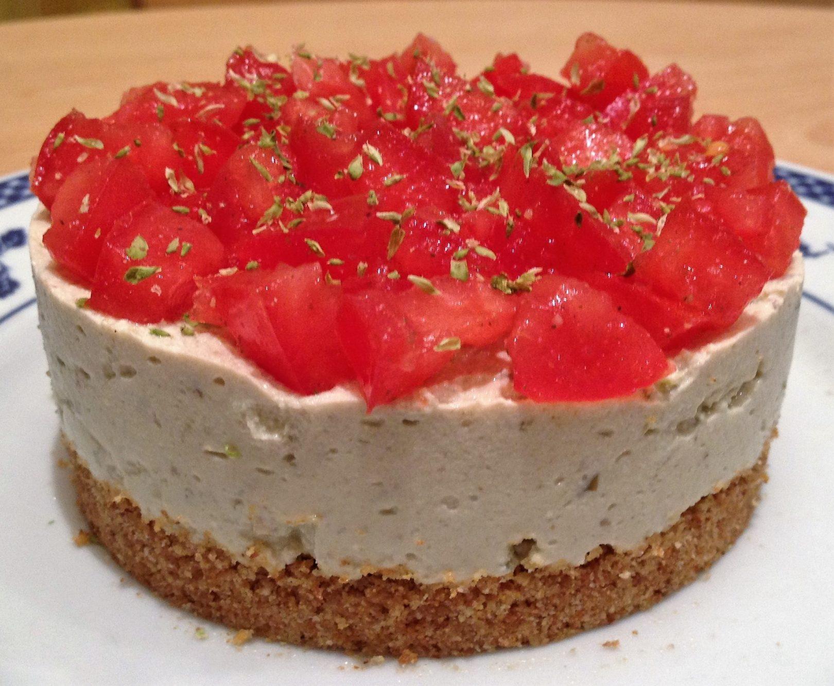 Veg-cheesecake salata di tofu alle  olive