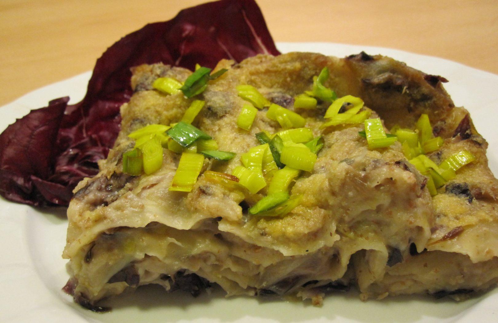 Lasagne al radicchio, porri e funghi