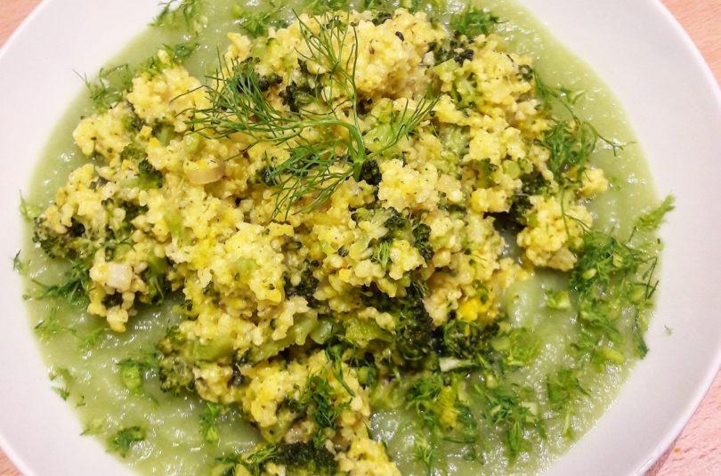 Migliotto con broccoletti e zafferano (su crema di gambi di broccolo e finocchio)