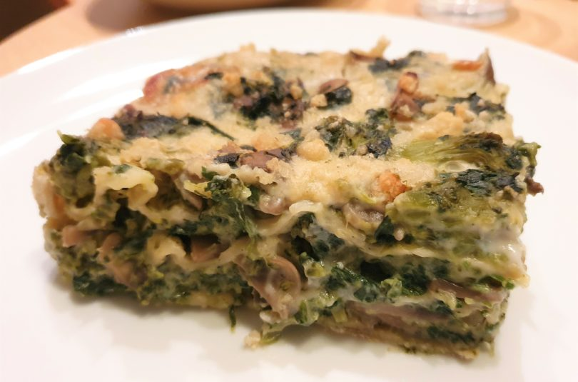 Lasagne light ai funghi, broccoli e spinaci