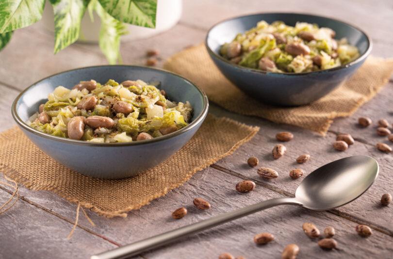 Stufato di borlotti, verza e patate