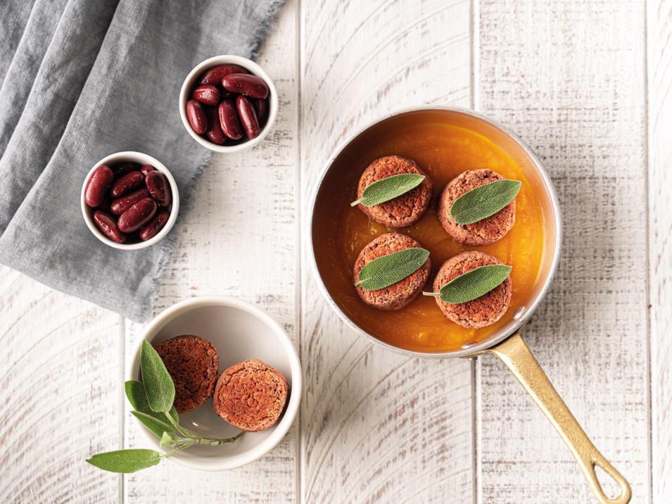 Polpette di fagioli rossi con salsa di zucca