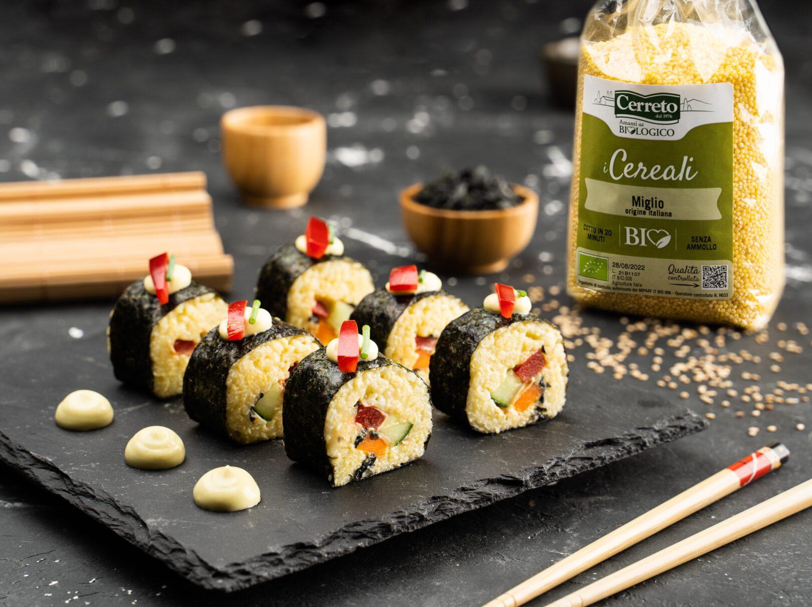 Maki sushi vegan di miglio